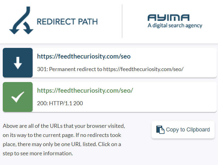 Showing a 301 Redirect