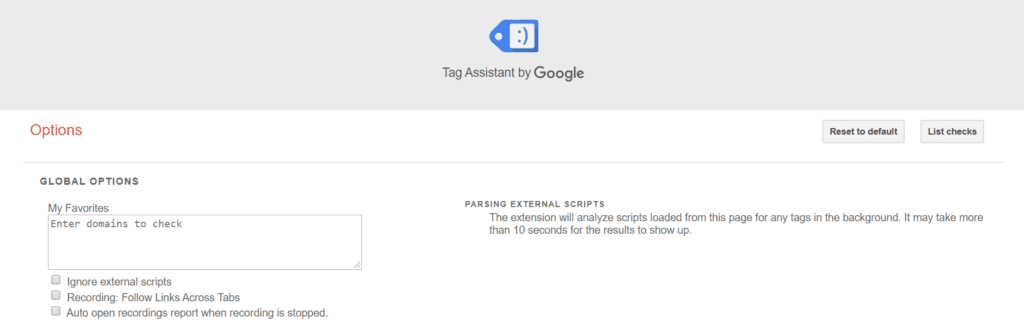 Chrome Extensions for SEO: Google Tag Assistant Settings