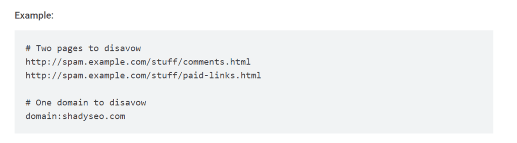 example of link and domain disavow