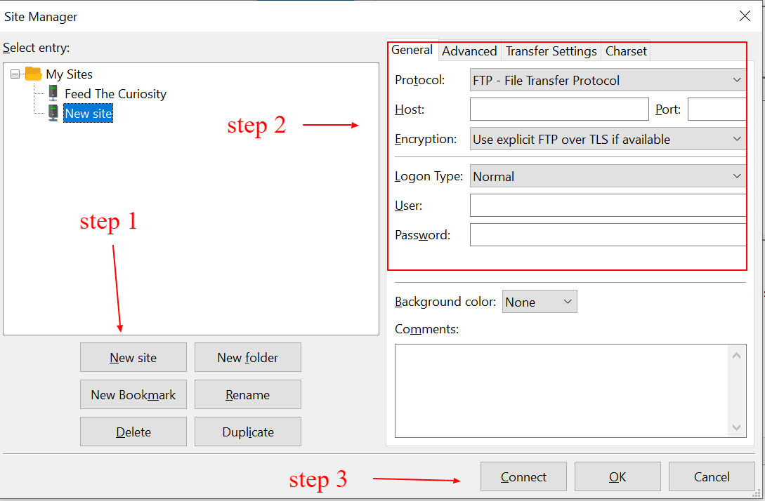 filezilla-new-site-ftp-connection