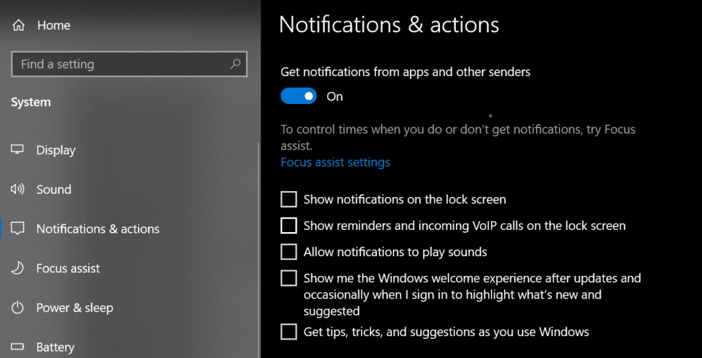 windows notifications and actions. Part 4 to speed up your windows 10 operating system