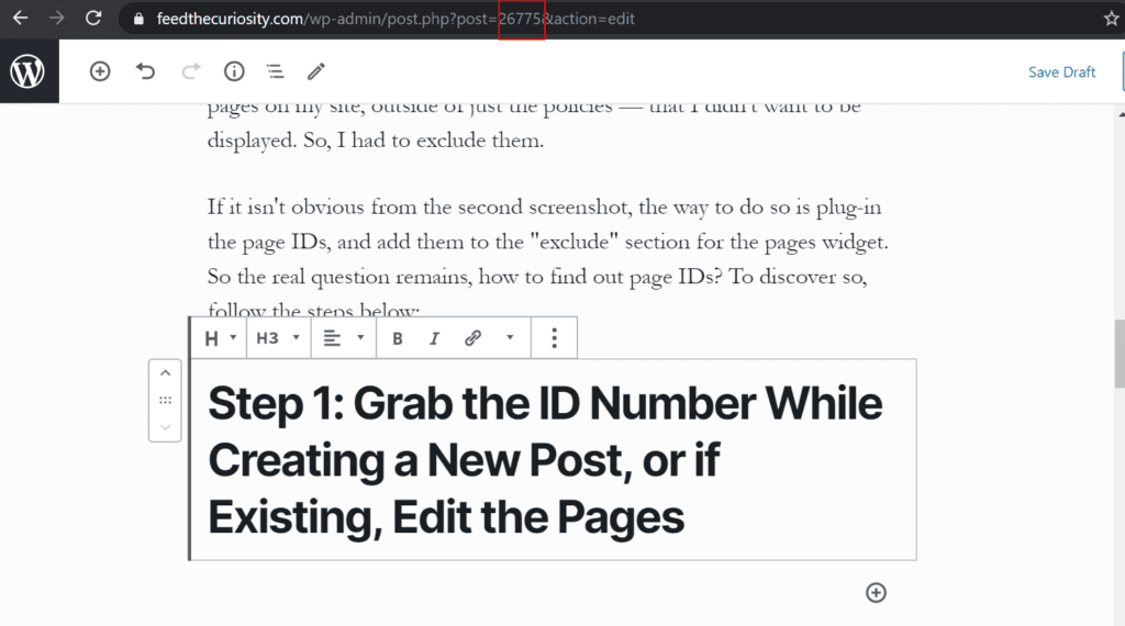 wp id number when creating a new page or post