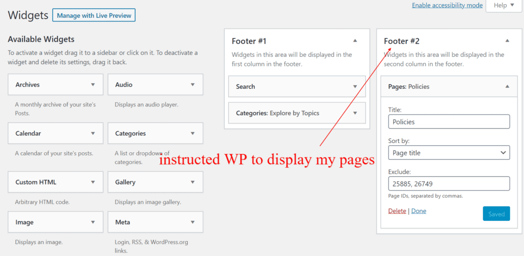 wp instructions to display pages in footer