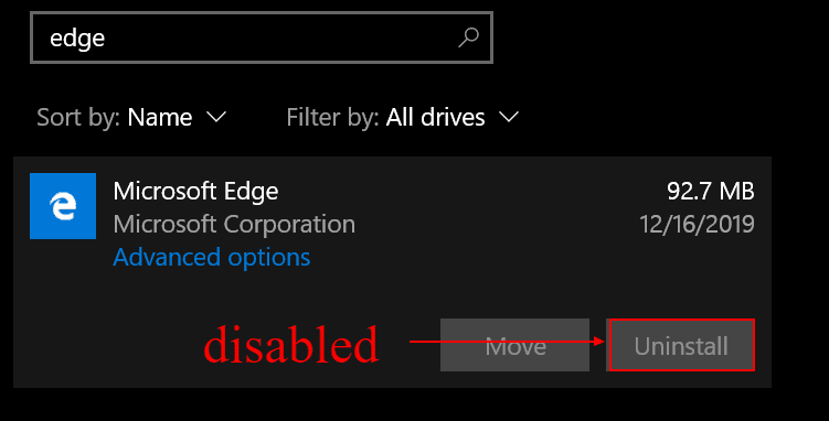 cannot uninstall microsoft edge via regular methods