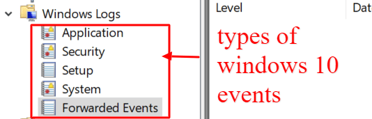 types of windows 10 events