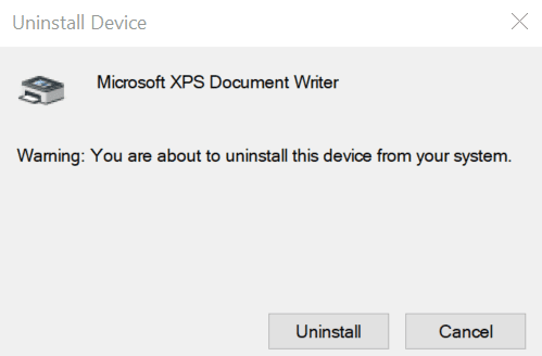 uninstall device confirmation dialog