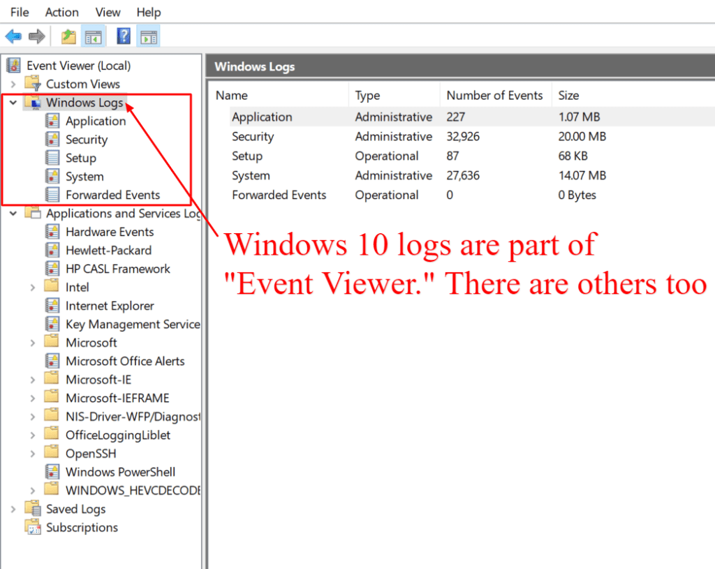 windows 10 logs are part of the event viewer ecosystem