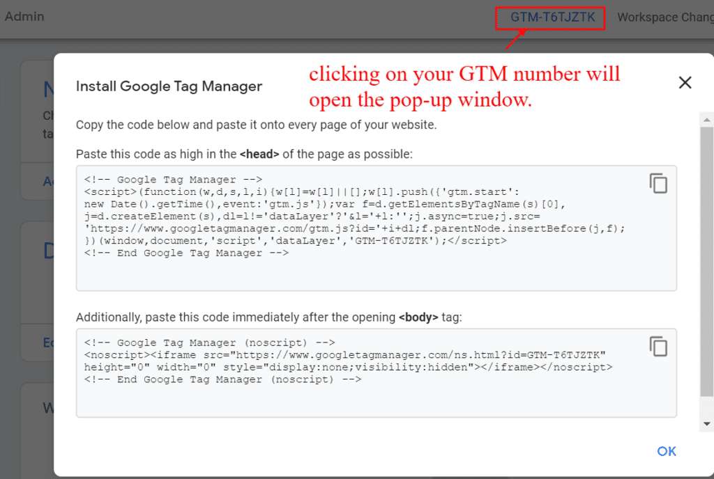 how to grab your google tag manager code