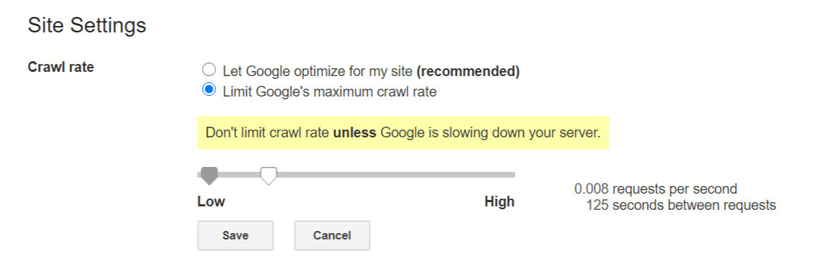 how to limit or change google crawl rate