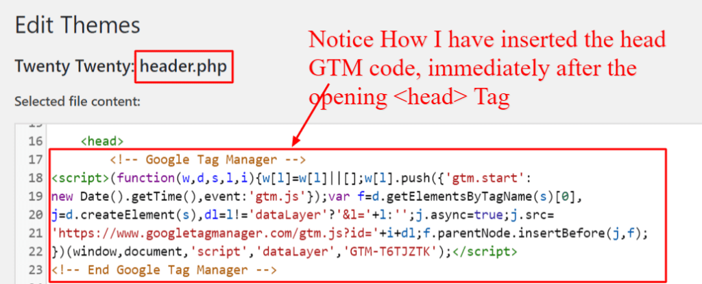 Where to Place the Google Tag Manager <Head> Code in WordPress