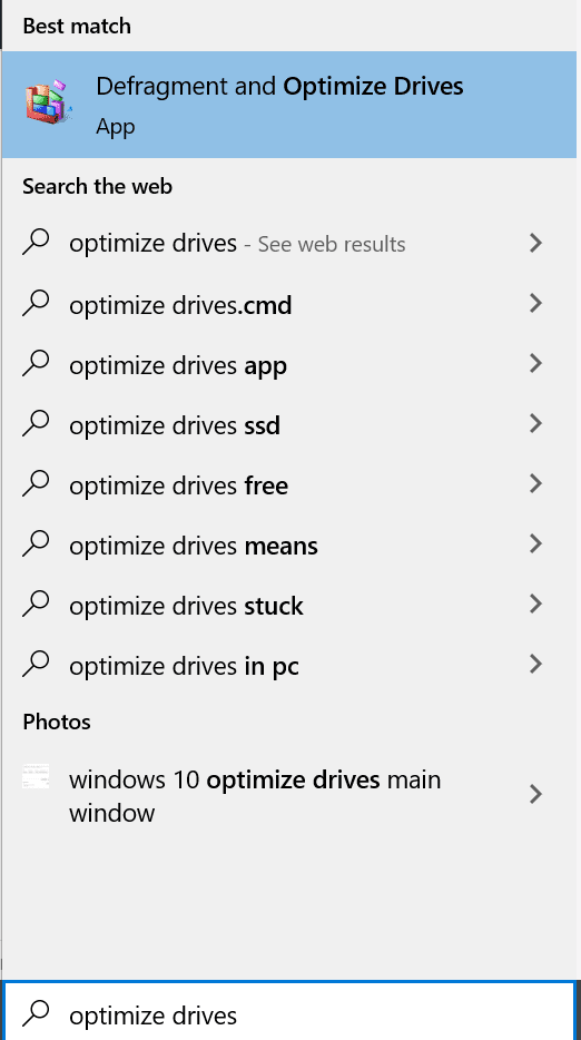looking for optimize drives in windows 10