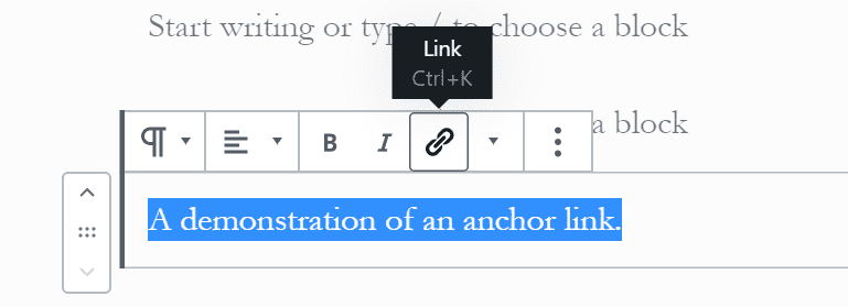 step 1- how to add an anchor link in wordpress using gutenberg