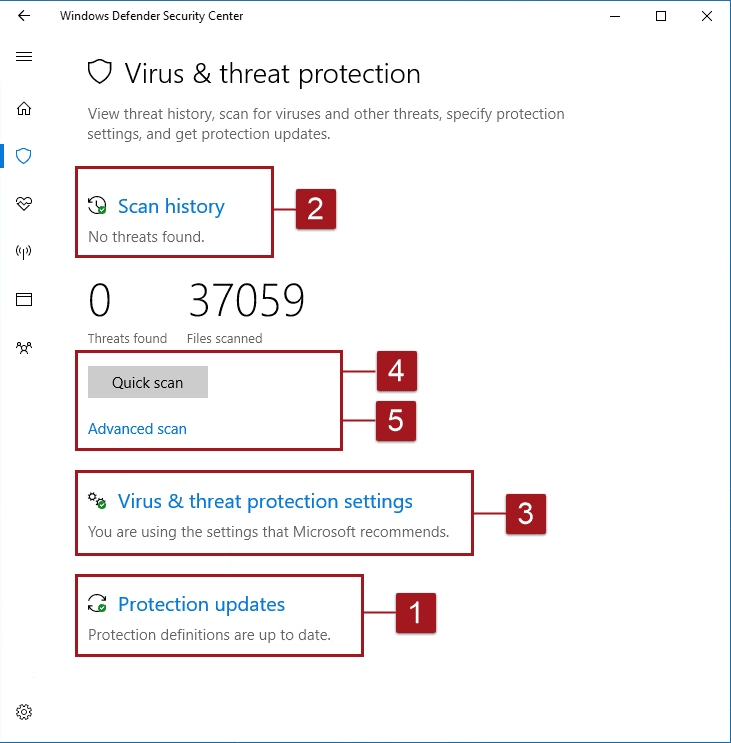 where windows defender functionalites are in windows security