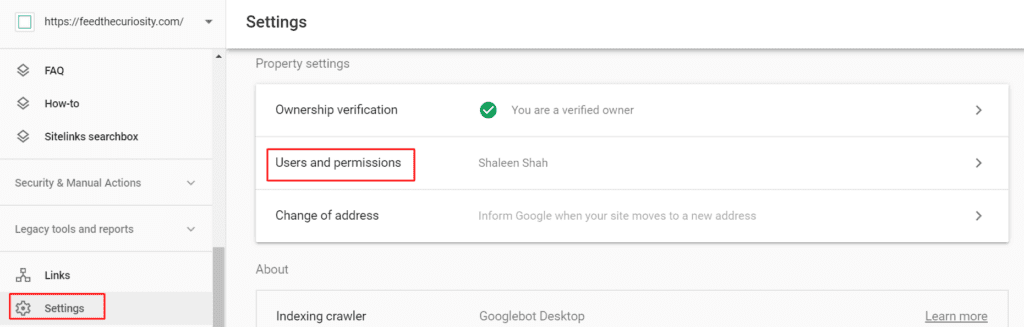 adding another user in google search console property