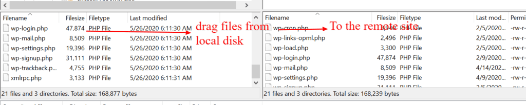 Transferring files from your local hard drive to your website in FileZilla, is a simple drag and drop.