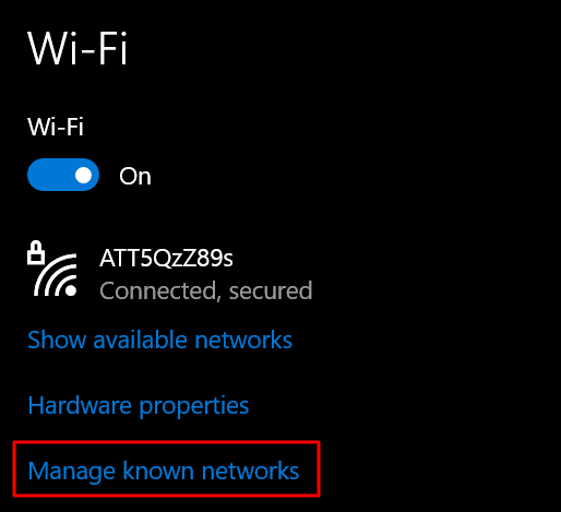 getting to manage known networks from Wi-Fi settings in Windows 10