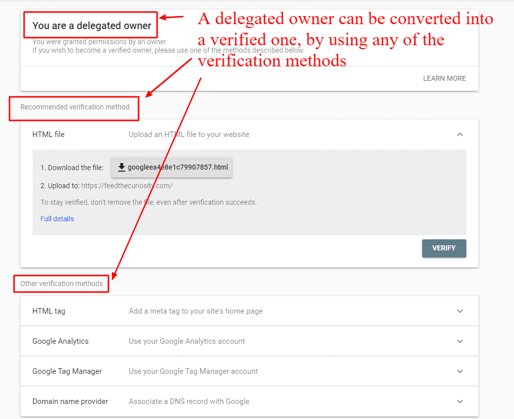 how to convert a delegated google search console owner into a verified one