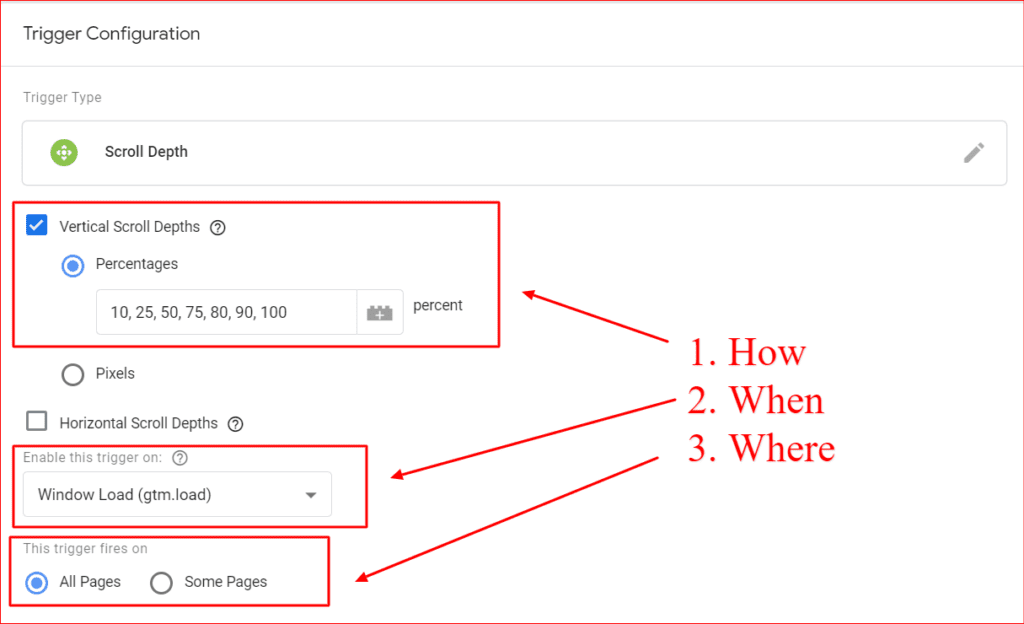 scroll depth trigger configuration in google tag manager