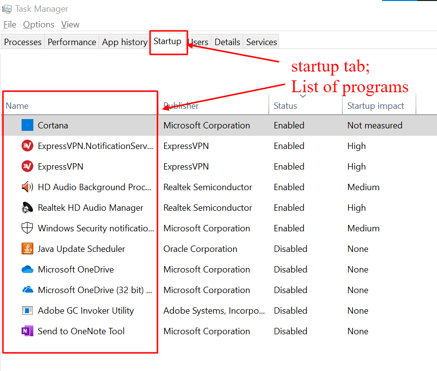 startup tab in windows 10 task manager