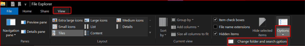 change folder and search options in windows 10