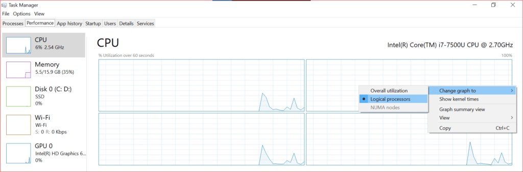 changing performance live graph in task manager by logical processors
