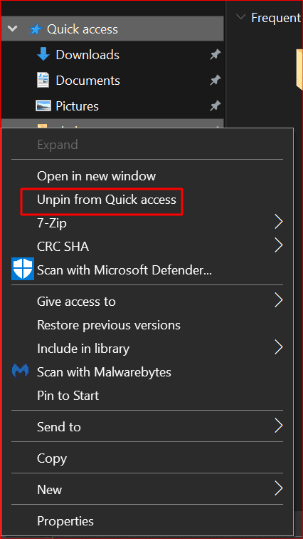 how to unpin a pinned item from quick access