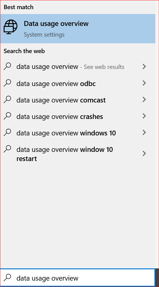 opening data usage overview in Windows 10