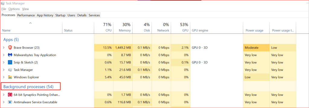 windows 10 task manager processes tab
