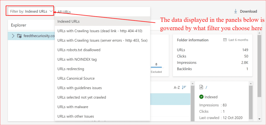the primary filter in the bing site explorer