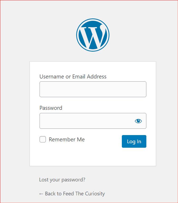 a typical wp login page