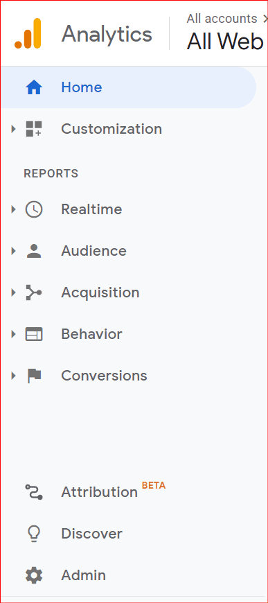 navigating to the admin area in google analytics