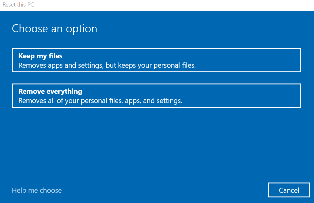 choosing what kind of reset to perform in windows 10