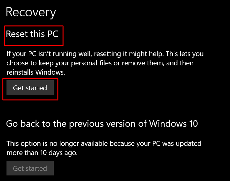 first step to resetting a windows 10 pc