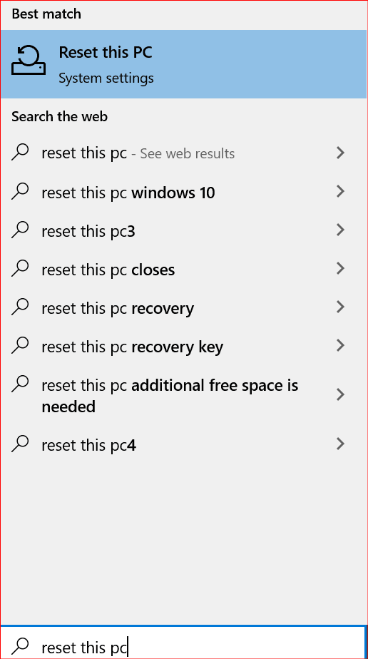 searching for resetting a pc in windows 10