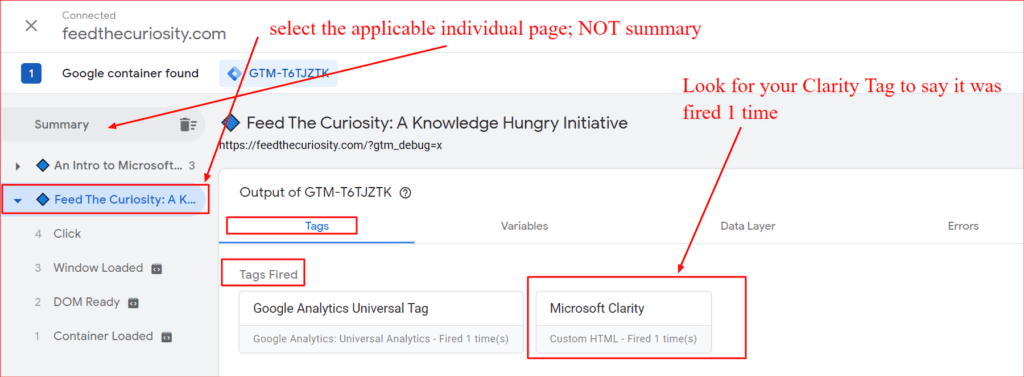 debugging in gtm to see whether the microsoft clarity tag was setup correctly