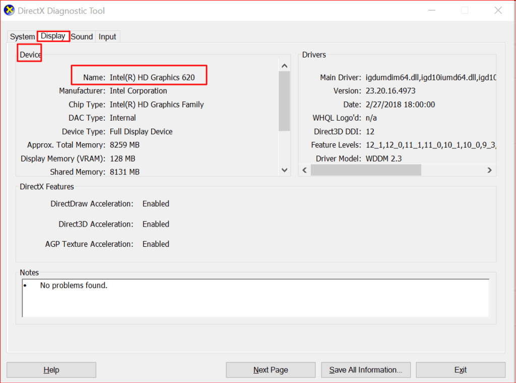 dxdiag revealing graphics card information