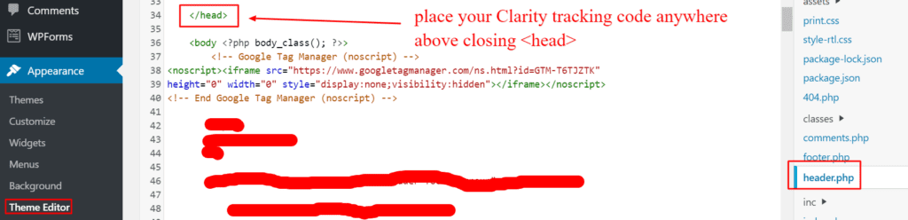 how can wp users add microsoft clarity, manually