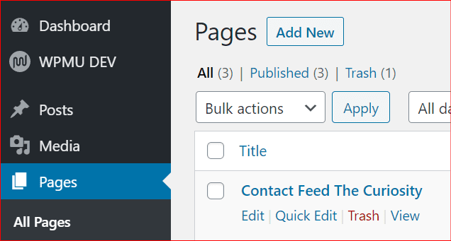 pages in wordpress