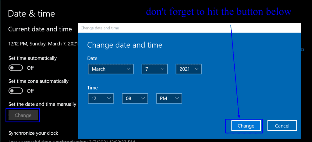 final step of changing date and time manually in windows 10
