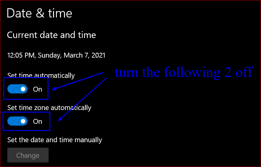 toggling automatic date and time settings to off in Windows 10