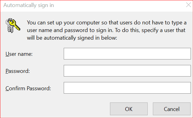 automatically sign in prompt on Windows 10