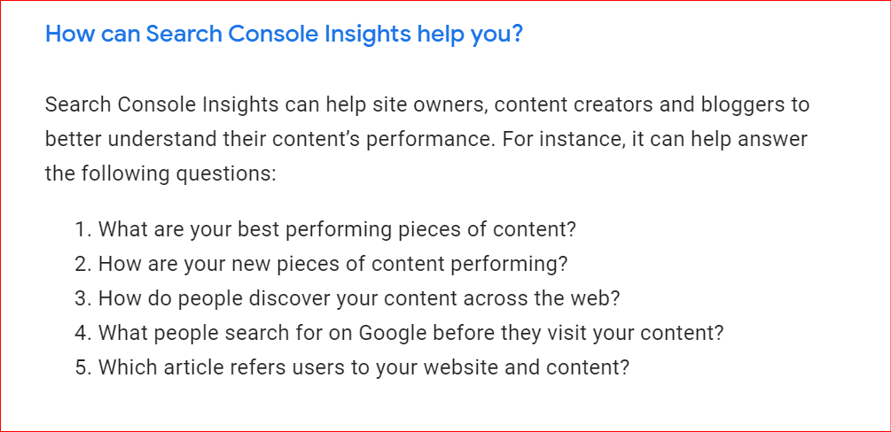 how can search console insights be useful