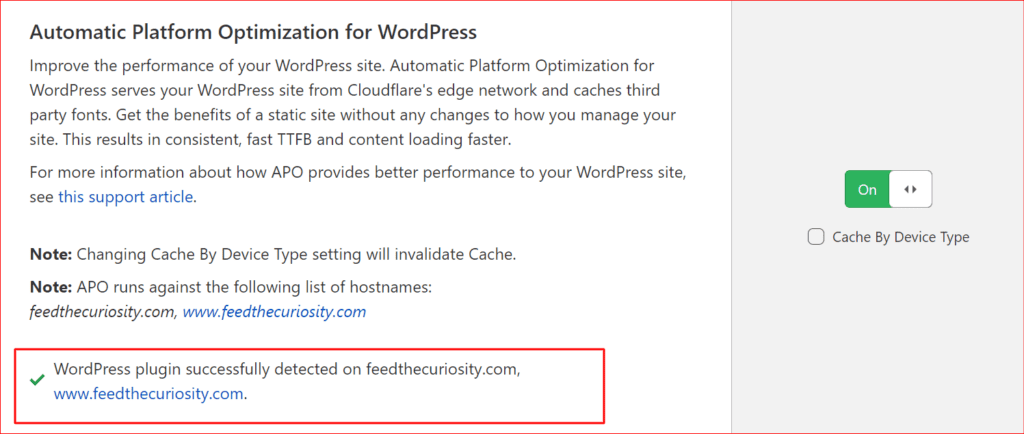 proof that that Cloudflare APO is active and that the plugin was detected