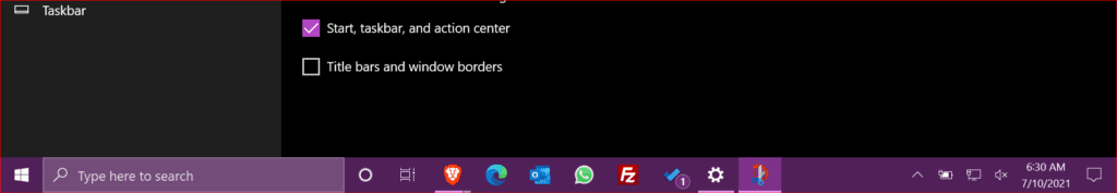 an example of a changed taskbar color to violet red light