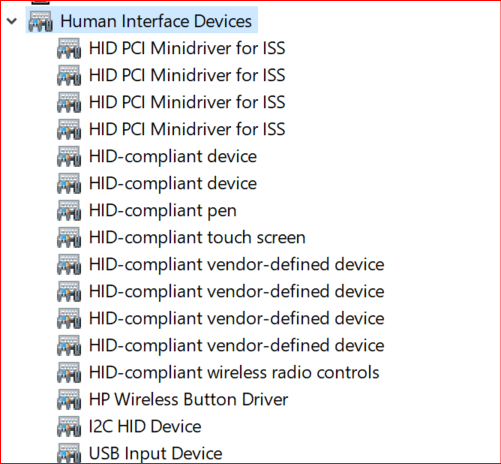 expanding human interface devices options in device manager