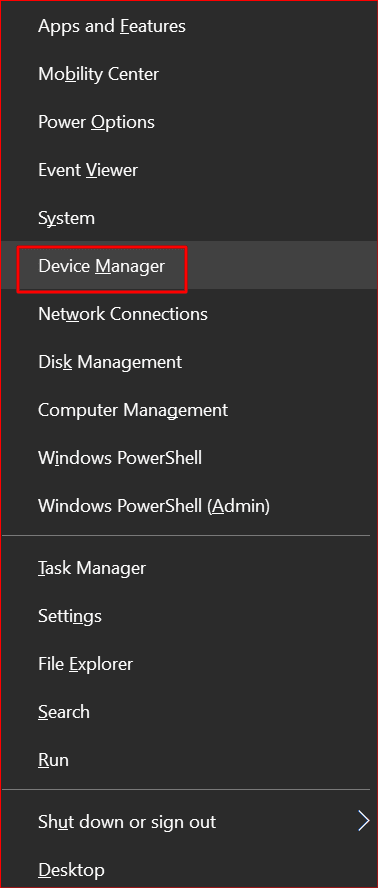 opening device manager in windows 10