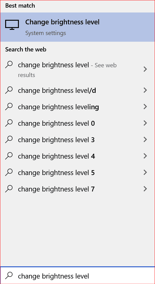searching in the start menu to change brightness level