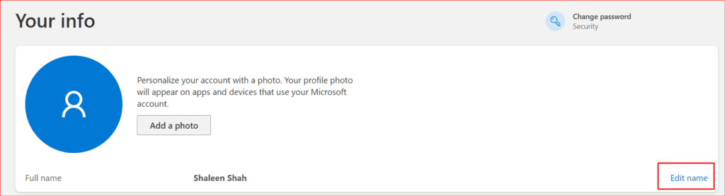 selecting edit name to adjust the administrator name from the Microsoft account
