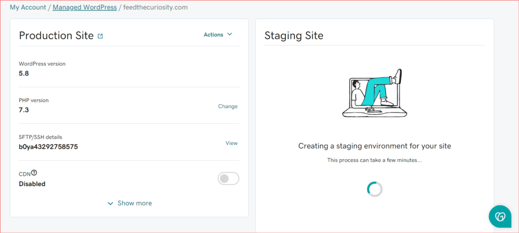 syncing staging site from production site in a GoDaddy Managed WordPress Plan