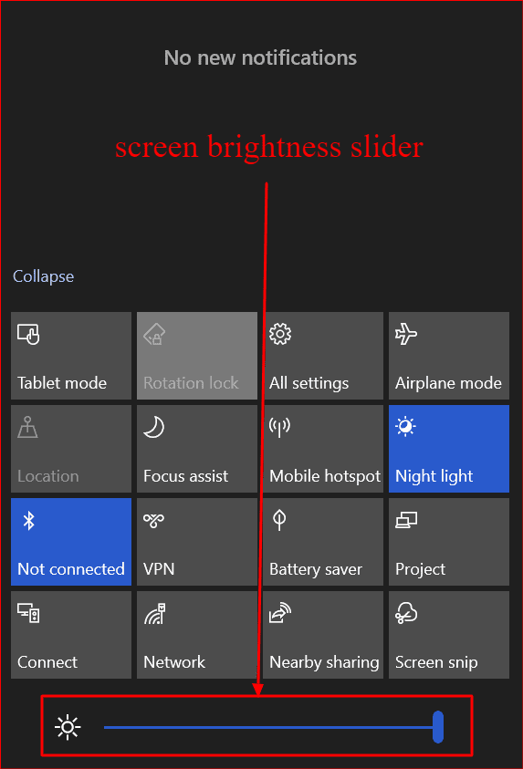 the screen brightness slider from the windows 10 action center